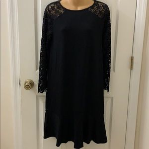 Jack Wills NWT Black Dress with Star Lace Arms